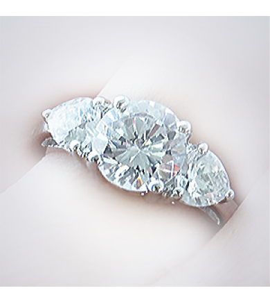 3 Stone Ring with Pear Side Diamonds