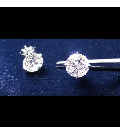 3.02 ctw Round Brilliant Diamond Earrings, laser drilled