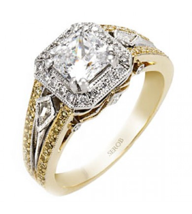Two-Tone Halo Ring KS9032-R