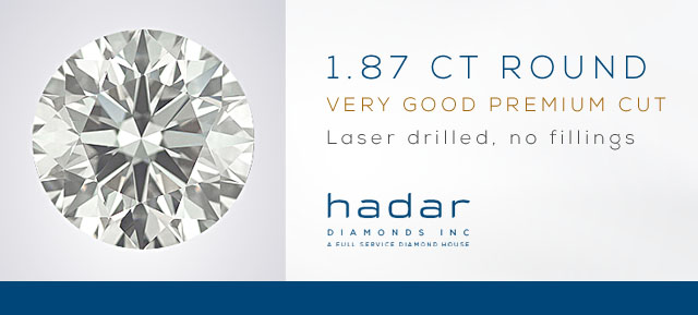 1.87 Round Cut, Laser Drilled Diamond