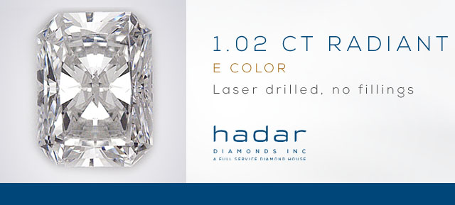 1.02 ct Radiant Cut Diamond - Laser Drilled