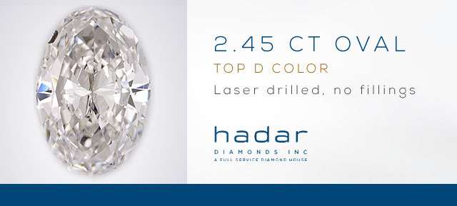 2.45 ct Oval cut Laser Drilled Diamond - No fillings