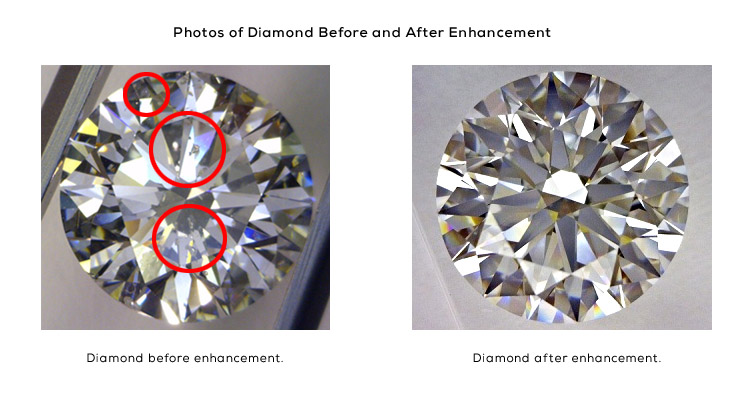 Photos of a Diamond Before & After Enhancement