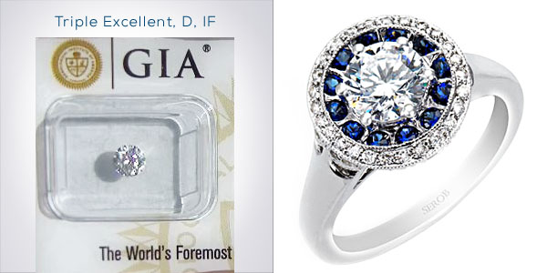 Round Brilliant Diamond Double-Halo Engagement Ring with Diamonds and Sapphires Under $5,000