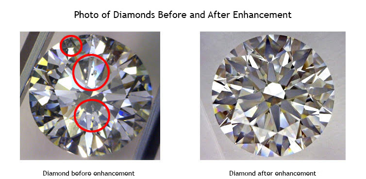 Diamonds before and after enhancement