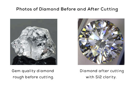 Photos of a Diamond Before & After Cutting
