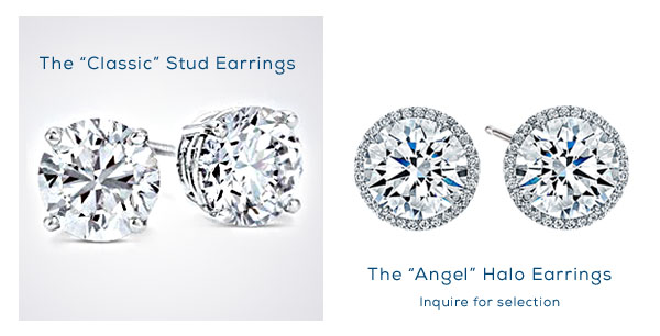 Valentines Day Diamond Sale:  Diamond Earring Studs and Halo Earrings