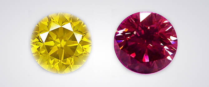 Yellow and Purplish Pink Diamond